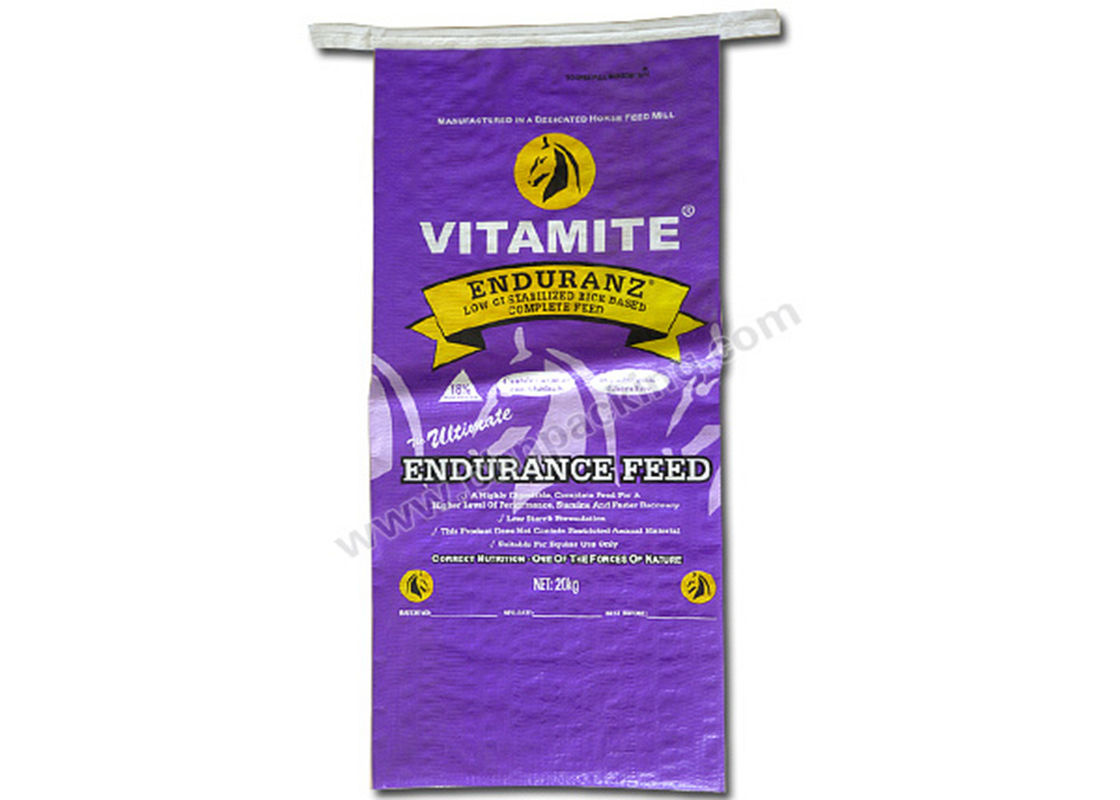 Heavy Duty Woven Custom Printed Feed Bags , PP Large Feed Bags Tear Resistant
